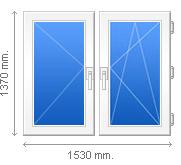 1530x1370 Пластиковое окно 2 открывания